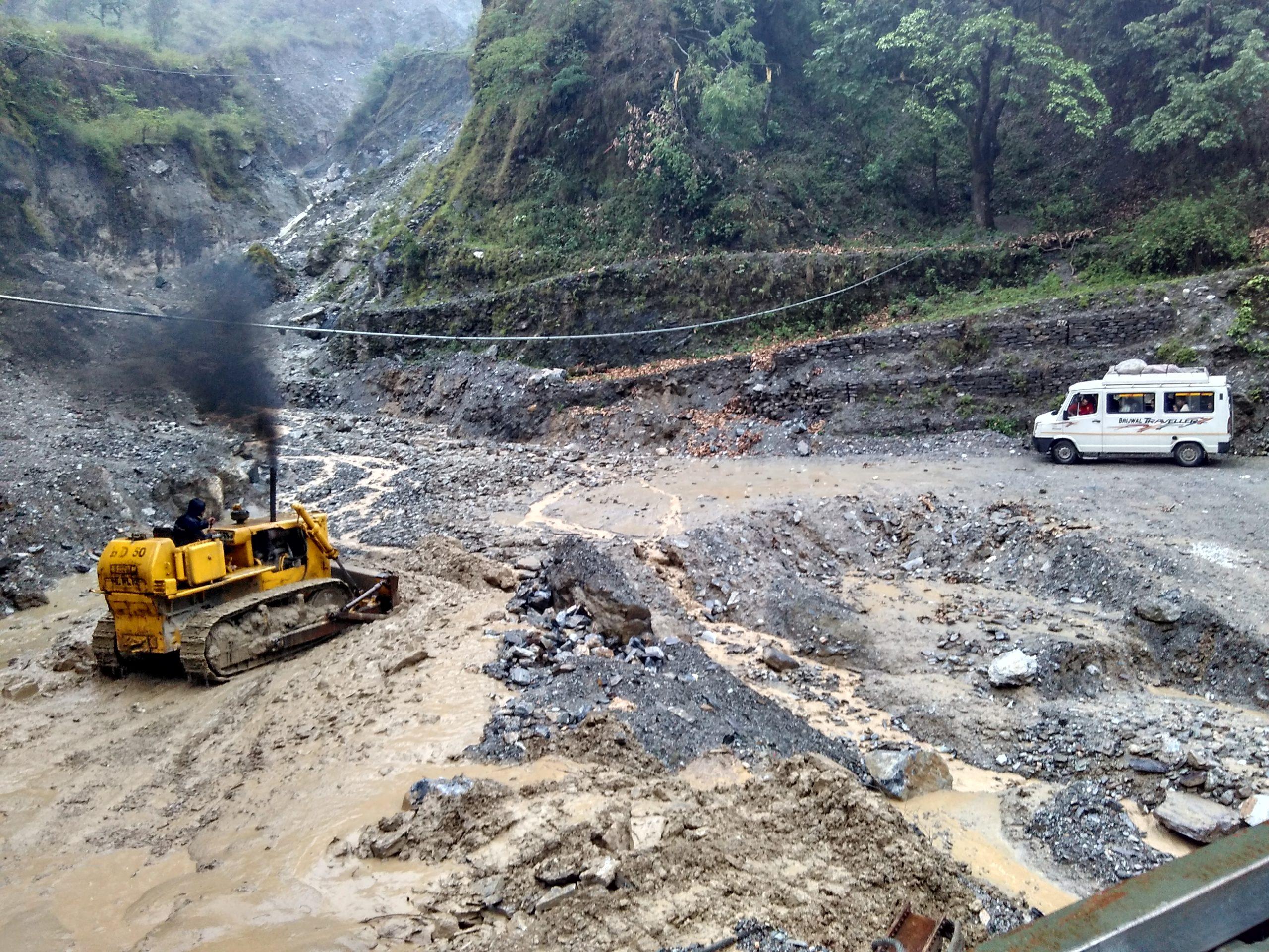 File:Road affected by flash flood, near Nachni, Pithoragarh ...